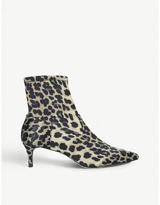 Kurt Geiger Shakira leopard print satin ankle boots