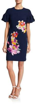 Trina Turk Jacinta Puff-Sleeve Sheath Dress w/ Floral Embroidery