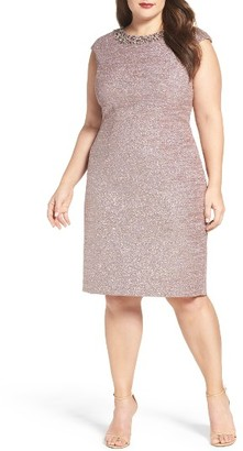 Plus Size Women's Eliza J Embellished Sparkle Knit Sheath Dress $208 thestylecure.com
