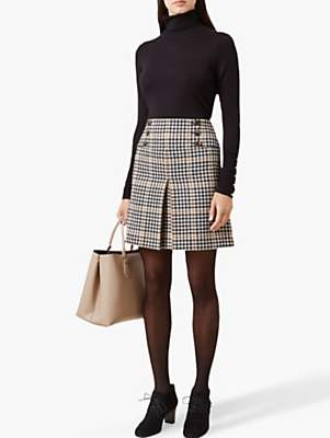 Hobbs Joy Check Wool Skirt, Camel Black