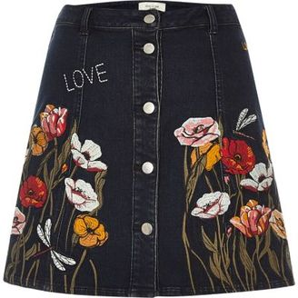 River Island Womens Black floral embroidered A-line denim skirt