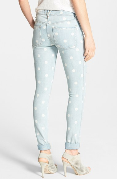Marc by Marc Jacobs Destroyed Slim Leg Cuff Jeans (Lily Dot)