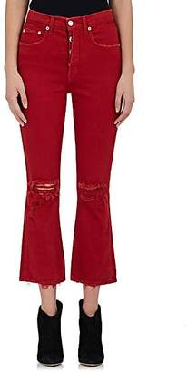 ADAPTATION Women's Distressed Crop Flare Jeans - Red