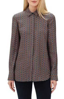 Lafayette 148 New York Scottie Globetrotter Triangles Silk Jacquard Blouse