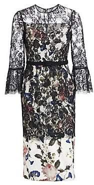 Erdem Women's Luceila Floral Lace-Overlay Pencil Dress
