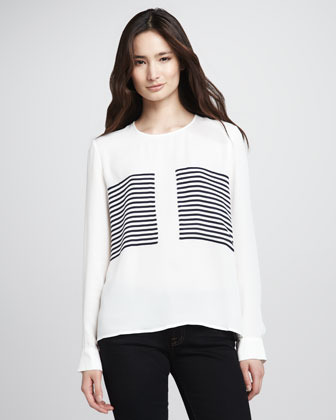 Theory Mariya Solid-Sleeve Striped Blouse