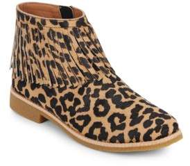 Betsie Too Fringed Leopard-Print Calf Hair Ankle Boots
