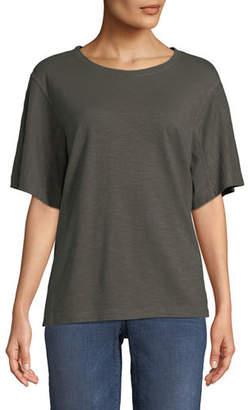 Eileen Fisher Short-Sleeve Hemp-Cotton Twist Top, Petite