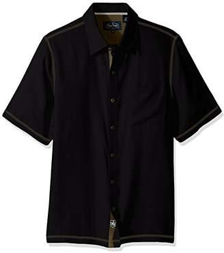 Nat Nast Men's Solid Traditional Fit Silk Blend Short Sleeve Shirt