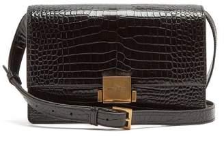 Saint Laurent Bellechasse Medium Crocodile Effect Leather Bag - Womens - Black