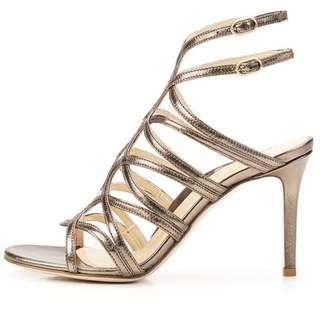 Marion Parke Lulu | Strappy Suede Mesh Stiletto Sandal