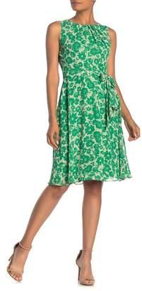 Eliza J Floral Pleated Neck Belted Dress