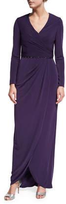 La Femme Long-Sleeve Beaded Jersey Faux-Wrap Dress, Plum
