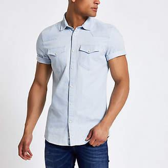 River Island Blue western style slim fit denim shirt