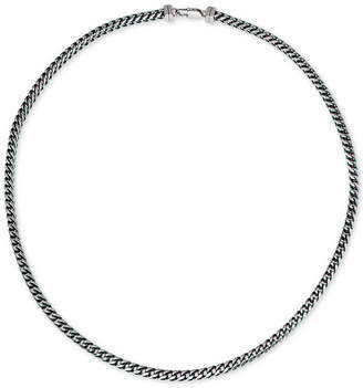 Esquire Men's Jewelry Fox Chain Necklace in Stainless Steel and Blue Ion-Plate