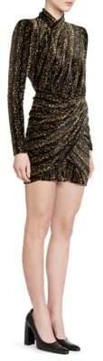 Balenciaga Ruched Velvet Mini Dress
