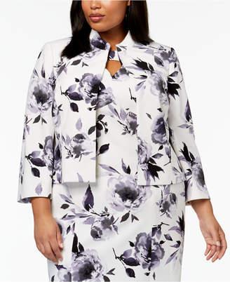 Kasper Plus Size Floral-Print Scuba-Crepe Jacket