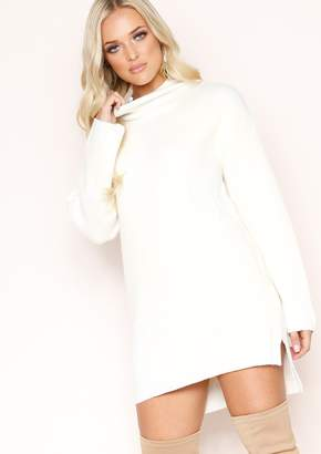 a0b4198d24882 Missy Empire Missyempire Talia Cream Knit High Neck Jumper
