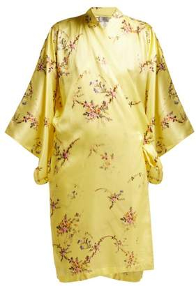 Preen by Thornton Bregazzi Floral Print Silk Blend Kimono Robe - Womens - Yellow