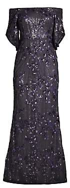 Aidan Mattox Women's Off-The-Shoulder Floral Sequin Dress