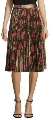 Kate Spade New York Hazy Rose Pleated Lame Midi Skirt