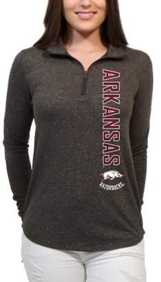 NCAA Arkansas Razorbacks Cascade Text Women's/Juniors Team Long Sleeve Half Zip Shirt