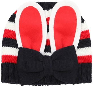 Gucci Rabbit Ears Striped Wool Knit Hat