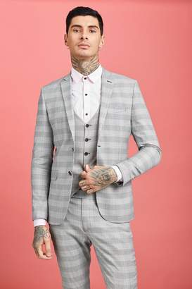 Prince of Wales Check Skinny Fit Suit Jacket