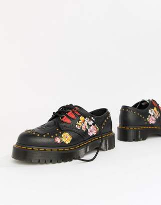 Dr. Martens Serova Black Embroidered Chunky Flatform Shoes