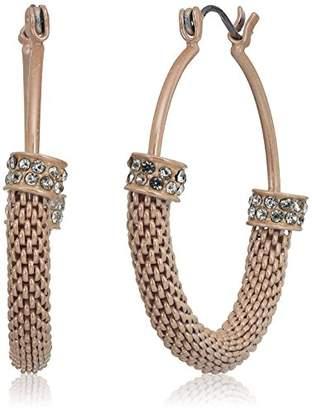 GUESS Womens Mesh Hoop Earrings Matte /Crystal