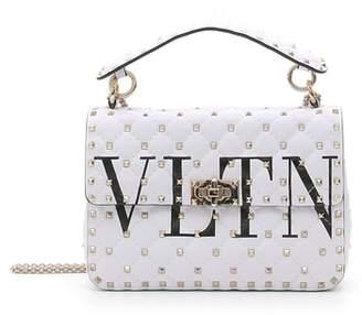 Valentino VLTN Logo Candystud Lambskin Top Handle Satchel