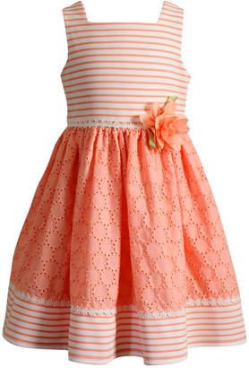 Sweet Heart Rose Striped Eyelet Dress, Little Girls