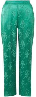 Dorothy Perkins Womens Green Jacquard Floral Palazzo Trousers