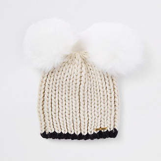 River Island Womens Cream faux fur double pom pom beanie