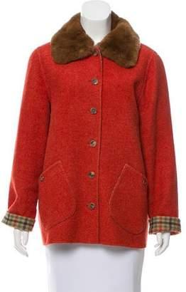 Bill Blass Fur-Trimmed Wool Jacket