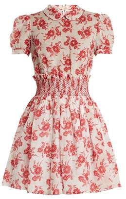 Miu Miu Floral-print smocked-waist mini dress