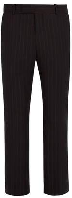 Alexander McQueen Pinstriped Wool Cropped Trousers - Mens - Black