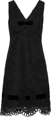 Anna Sui Velvet-trimmed Guipure Lace Mini Dress