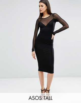 ASOS Tall ASOS TALL Plunge Bodycon Midi Dress with Contrast Mesh $34 thestylecure.com