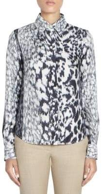 Victoria Beckham Women's Silk Abstract Animal Print Shirt - Size UK 8 (4)
