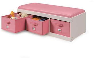 Badger Basket Kid Storage Bench with Cushion and Three Bins
