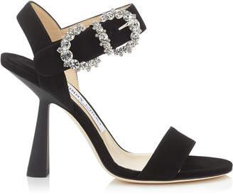 Jimmy Choo SERENO 100 Black Suede Sandal with Jewelled Buckle