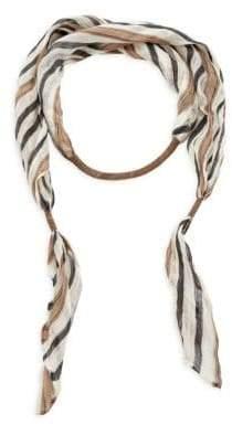 Brunello Cucinelli Women's Linen Striped Necklace Scarf - White Multi
