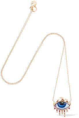 Lito La To Ny Enameled Eye Rose Gold Necklace