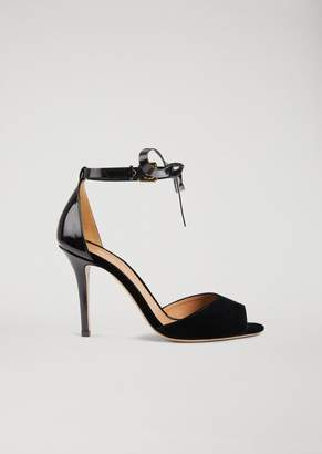 Emporio Armani Velvet And Brushed Leather Sandals With Ankle Bow