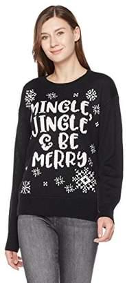 Ugly Fairisle Unisex Adult Jacquard Mingle Jingle & Be Merry Crewneck Christmas Sweater XXL Black/White