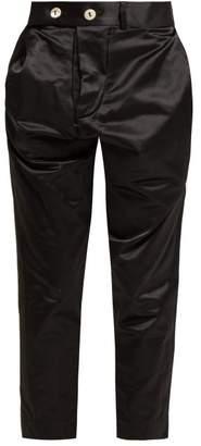 Vivienne Westwood High Rise Cotton Blend Satin Trousers - Womens - Black
