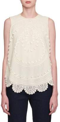 Chloé Embroidered Tulle Sleeveless Top