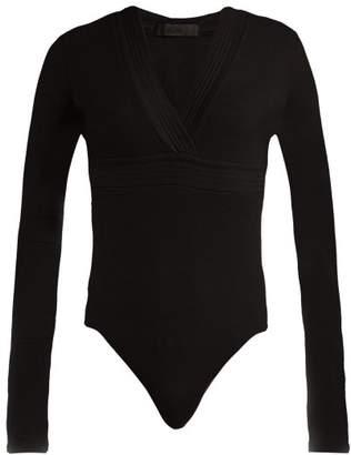 Atm - Ribbed Jersey V Neck Bodysuit - Womens - Black