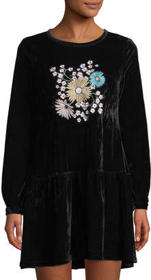Glamorous Floral-Embroidered Velvet Dress